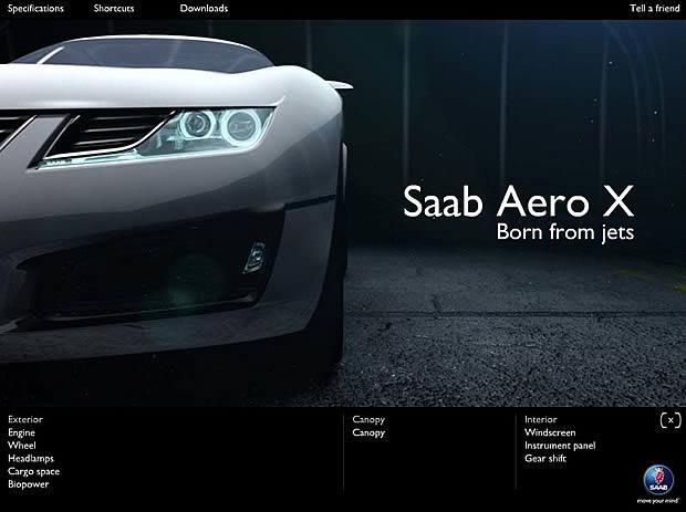 Filmato Flash di Saab per Aero X