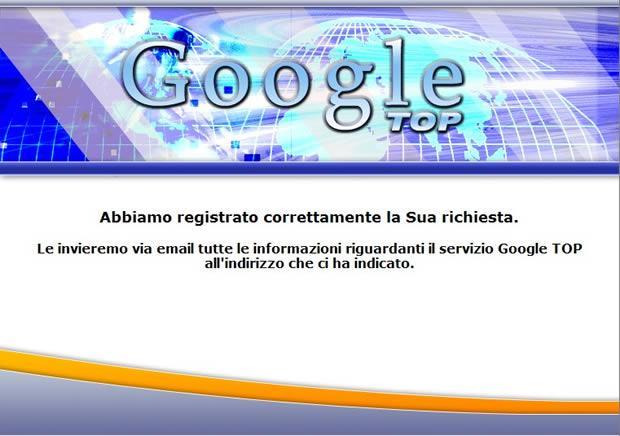 Servizio Google Top; attenti alle bufale!!!