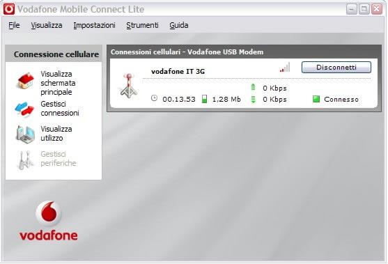vodafone mobile connect lite - interfaccia modem software